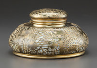 A Tiffany Studios Glass and Gilt Bronze Pine Needle Pattern Master Inkwell with Glass Liner