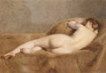 Fine Art - Painting, European:Modern  (1900 1949)  , Paul Sieffert (French, 1874-1957). Reclining Nude (No. 502).Oil on canvas. 15 x 21-3/4 inches (38.1 x 55.2 cm). Signed ...