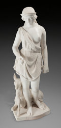 Fine Art - Sculpture, American:Antique (Pre 1900), Joseph Mozier (American, 1812-1870). Pocahontas. Marble. 48inches (121.9 cm) high. Signed, dated, titled, and inscribed...