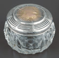 Silver Holloware, American:Vanity, A Shiebler Cut-Glass Jar with Partial Gilt Silver and GoldMedallion Lid, New York, New York, circa 1880. Marks: (wingedS),...