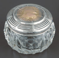 A Shiebler Cut-Glass Jar with Partial Gilt Silver and Gold Medallion Lid, New York, New York, circa 1880 Marks: (w