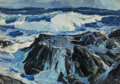 American:Impressionism, Paul Lauritz (Canadian, 1889-1975). The North Sea, NorwayCoast. Oil on canvas laid on panel. 24 x 34 inches (61.0 x86....