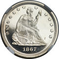 Proof Seated Quarters, 1867 25C PR67 ★ Cameo NGC....