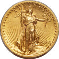 High Relief Double Eagles, 1907 $20 High Relief, Wire Rim MS61 PCGS....