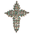 Estate Jewelry:Brooches - Pins, Emerald, Diamond, Silver-Topped Gold Pendant-Brooch. . ...