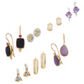 Estate Jewelry:Earrings, Diamond, Colored Diamond, Multi-Stone, Gold Earrings. . ... (Total:7 Items)