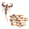 Estate Jewelry:Brooches - Pins, Multi-Stone, Diamond, Gold Brooches. ... (Total: 2 Items)