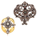 Estate Jewelry:Brooches - Pins, Antique Ruby, Sapphire, Emerald, Enamel, Vermeil, Gold Brooches.... (Total: 2 Items)