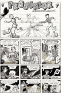 "Original Comic Art:Complete Story, Art Spiegelman and Justin Green ProJunior #1 Complete 3-PageStory ""ProJunior Learns to Draw"" Original Art (Kitche..."