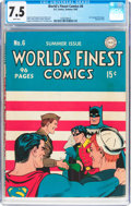 Golden Age (1938-1955):Superhero, World's Finest Comics #6 (DC, 1942) CGC VF- 7.5 White pages....