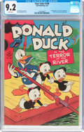 Golden Age (1938-1955):Cartoon Character, Four Color #108 Donald Duck (Dell, 1946) CGC NM- 9.2 White pages....