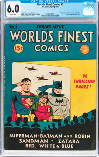 World's Finest Comics #5 (DC, 1942) CGC FN 6.0 White pages
