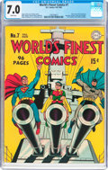 Golden Age (1938-1955):Superhero, World's Finest Comics #7 (DC, 1942) CGC FN/VF 7.0 White pages....