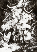 "Original Comic Art:Covers, Mike Mignola Hellboy: Buster Oakley Gets His Wish ""DarkHorse 25 Years"" Retailer Variant Cover Original Art (Dark ..."