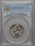 Jefferson Nickels, 1940 5C MS67 PCGS Secure. PCGS Population: (23/1 and 0/0+). NGC Census: (161/1 and 0/0+). Mintage 176,499,152. ...