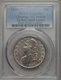 Bust Half Dollars: , 1834 50C Large Date, Small Letters, -- Cleaning -- PCGS Genuine. AU Details. PCGS Population: (76/379). ...