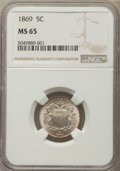 Shield Nickels: , 1869 5C MS65 NGC. NGC Census: (93/17). PCGS Population: (71/18). CDN: $570 Whsle. Bid for problem-free NGC/PCGS MS65. Minta...