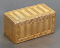 , A French 14K Gold Snuff Box, 20th century. Marks: (spurious marks). 1-1/2 x 3 x 1-1/2 inches (3.8 x 7.6 x 3.8 cm). 4.55 troy...