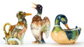 Ceramics & Porcelain, Continental:Antique  (Pre 1900), Three Continental Majolica Duck Items, circa 1880. Marks: 32, 6; GD, DEPOSE; P.V., MADE IN FRANCE, 712. 11-1/2 inches hi... (Total: 3 Items)