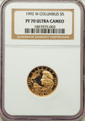 Modern Issues, 1992-W $5 Columbus Gold Five Dollar PR70 Ultra Cameo NGC. NGC Census: (1383). PCGS Population: (362)....