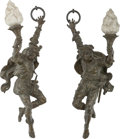Decorative Arts, Continental, A Pair of Continental Bronze Figural Single-Light Wall Sconces,early 20th century. 30 inches high (76.2 cm). ... (Total: 2 Items)