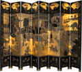 Asian:Chinese, A Chinese Painted and Lacquered Coromandel Eight-Panel Screen. 96inches high x 144 inches wide (243.8 x 365.8 cm) (extended...