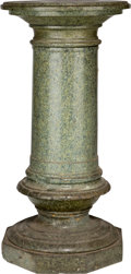 Decorative Arts, Continental, A Carved Verde Marble Pedestal, 20th century. 31-3/4 inches high x14-1/4 inches diameter (80.6 x 36.2 cm). ...