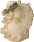 Sculpture, An Art Nouveau Marble Bust of a Muse, early 20th century. 17-1/4 inches high (43.8 cm). ...