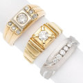 Estate Jewelry:Rings, Gentleman's Diamond, Gold Rings. . ... (Total: 3 Items)