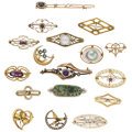 Estate Jewelry:Brooches - Pins, Diamond, Multi-Stone, Freshwater Cultured Pearl, Seed Pearl,Enamel, Glass, Gold, Silver-Topped Gold, Yellow Metal Brooches...(Total: 17 Items)