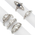 Estate Jewelry:Rings, Art Deco Diamond, Synthetic Sapphire, Glass, Platinum Rings. ... (Total: 5 Items)