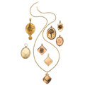Estate Jewelry:Pendants and Lockets, Victorian Diamond, Multi-Stone, Seed Pearl, Gold, Gold-FilledLockets. . ... (Total: 8 Items)