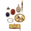 Estate Jewelry:Lots, Victorian Diamond, Multi-Stone, Freshwater Cultured Pearl, SeedPearl, Enamel, Glass, Gold, Gold-Filled Jewelry. . ... (Total: 8Items)