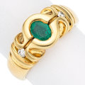 Estate Jewelry:Rings, Emerald, Diamond, Gold Ring. . ...