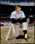 Basketball Collectibles:Photos, Mickey Mantle Signed Oversize Photograph With Ceramic Card....