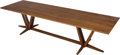 Furniture : Continental, A Custom Thos. Moser Cabinetmakers Walnut Trestle Table, Auburn,Maine, circa 2008. Marks: THOS. MOSER CABINETMAKERS, AUBU...