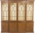 Furniture , A Regency-Style Mahogany Glazed Breakfront Bookcase, 20th century. 97-1/2 h x 96 w x 14 d inches (247.7 x 243.8 x 35.6 cm). ...