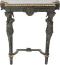 Furniture , A Louis XVI-Style Carved, Painted, and Giltwood Console, early 20th century. 34 h x 29-1/2 w x 9-1/4 d inches (86.4 x 74.9 x...