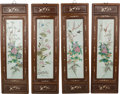 Asian:Chinese, Four Large Chinese Porcelain Plaques in Rosewood andMother-of-Pearl Inlaid Frames, 20th century. 66-1/4 inches high x20-1/... (Total: 4 Items)