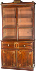 Furniture : English, An English Regency Mahogany, Rosewood, and Brass Inlaid Secretary, 19th century. 95-1/2 h x 48-1/2 w x 21-1/2 d inches (242.... (Total: 2 Items)