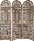 Decorative Arts, Continental, A Moorish Carved Wood, Bone, and Mother-of-Pearl Inlaid Three-PanelScreen, late 20th century. 77-1/4 inches high x 67-1/2 i...