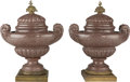 Decorative Arts, Continental, A Pair of Large Carved Rouge Marble and Gilt Bronze-Mounted CoveredUrns, 20th century. 30 h x 23-1/2 w x 16 d inches (76.2 ... (Total:2 Items)