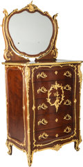 Furniture : French, A Louis XVI-Style Mahogany and Gilt-Bronze Mounted Dresser & Mirror in the manner of François Linke, 20th century. 78-1/4 h ... (Total: 2 Items)