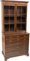 Furniture , A Late George III Mahogany Secretary Bookcase, early 19th century. 88-1/2 h x 43-1/4 w x 22 d inches (224.8 x 109.9 x 55.9 c...