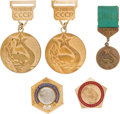 Olympic Collectibles:Autographs, 1968-74 Olga Korbut Medals Lot of 5 from The Olga Korbut Collection. ...