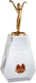 Olympic Collectibles:Autographs, 1988 International Gymnastics Hall of Fame Trophy Presented to Olga Korbut from The Olga Korbut Collection....