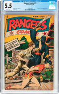 Golden Age (1938-1955):War, Rangers Comics #21 (Fiction House, 1945) CGC FN- 5.5 Off-whitepages....