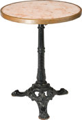 Furniture , A Bronze, Marble, and Iron Bistro Table, first half 20th century. 28 inches high x 21-3/4 inches diameter(71.1 x 55.2 cm). ...