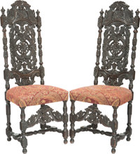 A Pair of Jacobean Revival Carved Oak Hall Chairs, 19th century 50-1/2 h x 19 w x 16 d inches (128.3 x 48.3 x 40.6 cm)...