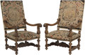 Furniture : French, A Pair of Louis XIII-Style Needlepoint Upholstered Fauteuilsd'Acanthes, 19th century. 47-1/2 h x 25-3/4 w x 24-1/2 d inches...(Total: 2 Items)